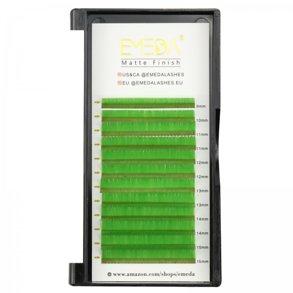0.07mm J B C D Curl Green Eyelash Extensions
