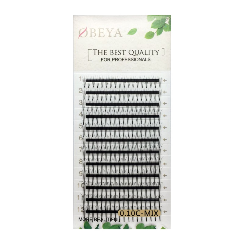 0.10mm Thickness C Curl 8-14mm Mixed Length Camellia 3D Premade Fans Eyelash Extensions Middle Stick