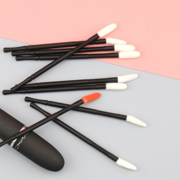 White and Black 100 Pcs Disposable Lip Brushes with lines