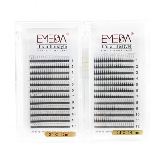 C D Curl 0.1 0.15 0.07 Roughness 8-14mm Mixed Tray and 12mm 14mm Single Length 3d Premade Volume Lashes by Emeda