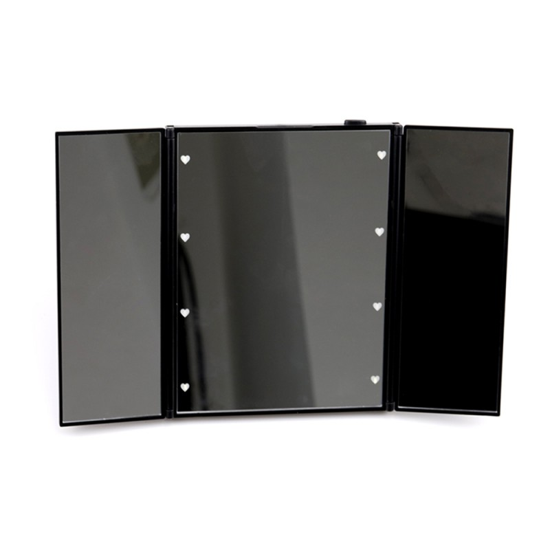 Lighted Makeup Mirror with 21 LED Lights 180 Degree Rotation Portable Mirrors for Travel (Black)