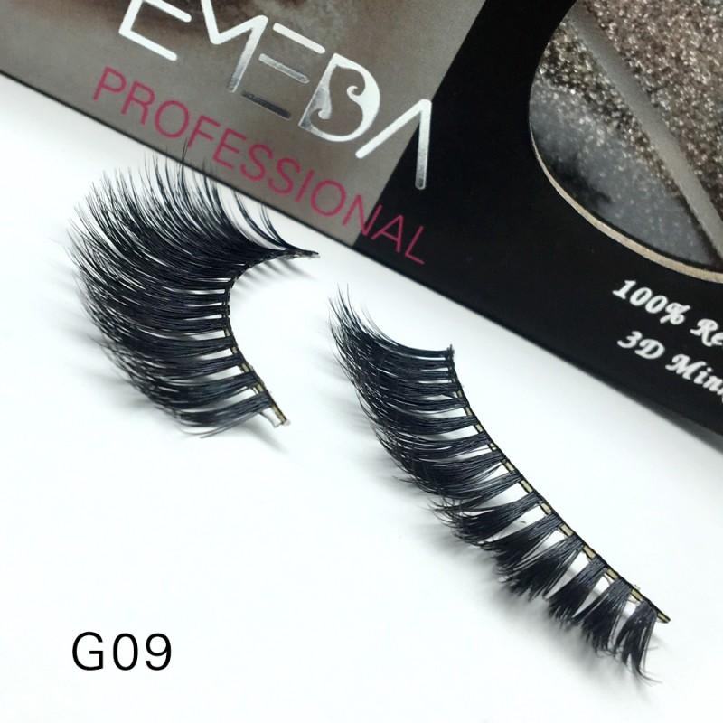 100% Real Mink Fur 3D Strip Lashes G09