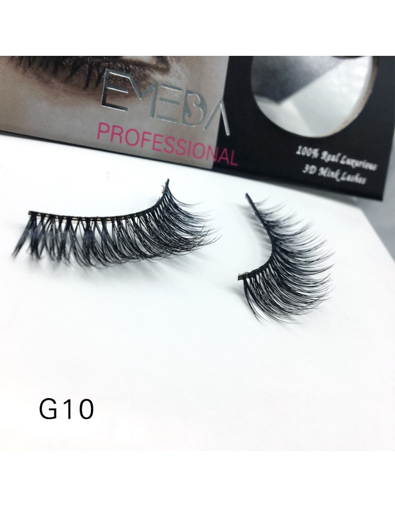 100% Real Mink Fur 3D Strip Lashes G10