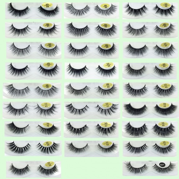 100% Natural Looking 3D Mink Fur False Eyelashes YY-3D01