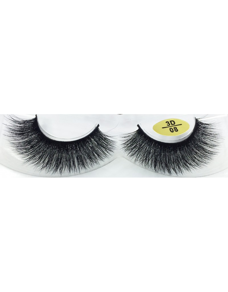 100%  Real Mink Fur 3D Strip Eyelashes YY-3D08