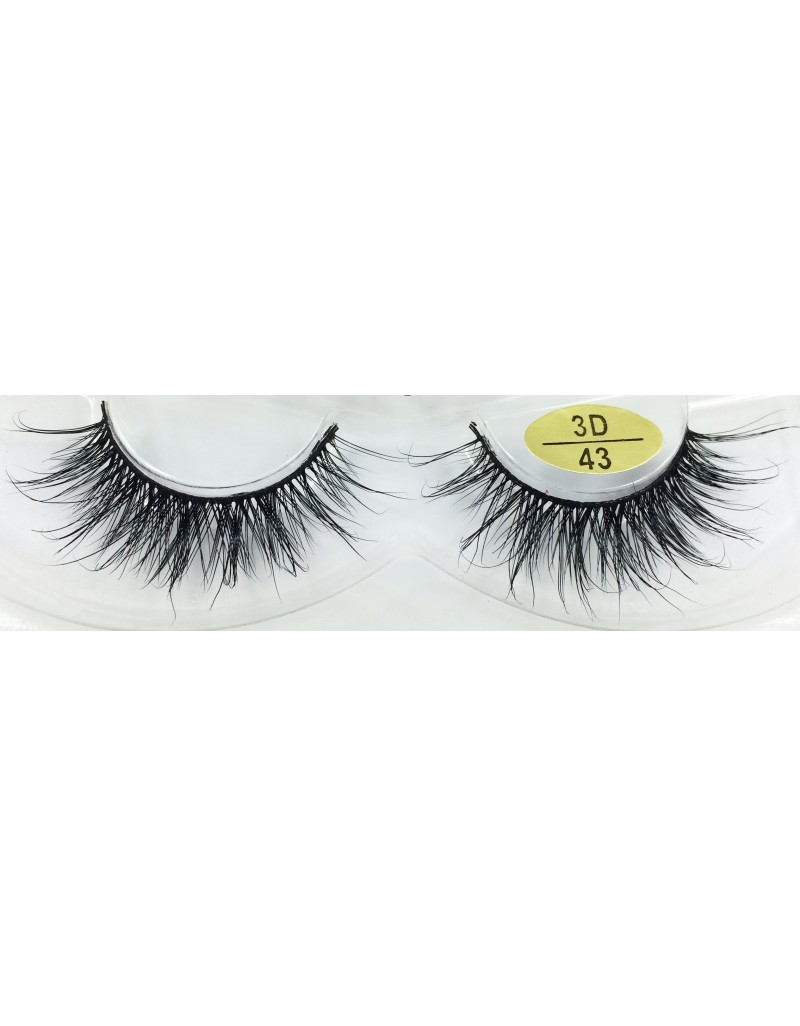 Low Price Handmade Real Mink  fur 3D Strip Lashes YY-3D43