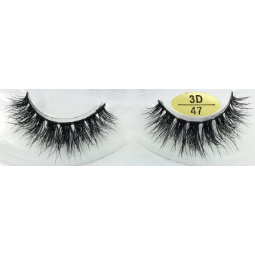 Wholesale Handmade Real Mink 3D False Strip Eyelashes YY-3D47