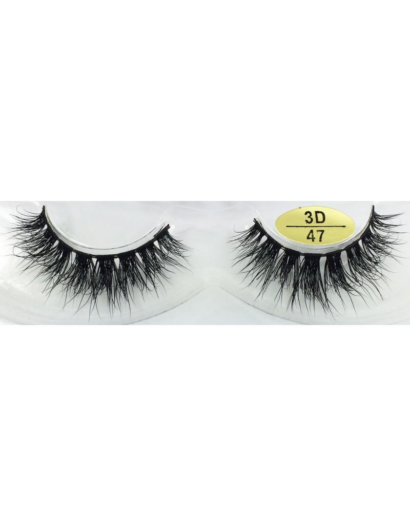 Fast Seller Handmade Real Mink 3D False Strip Eyelashes YY-3D47