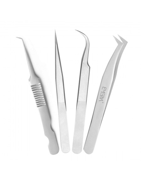 Tweezers for Volume Lashes Professional Precision Stainless Steel VETUS 6A-SA Mega Curved L Angled Tips Tweezer for Individual Extensions Supplies