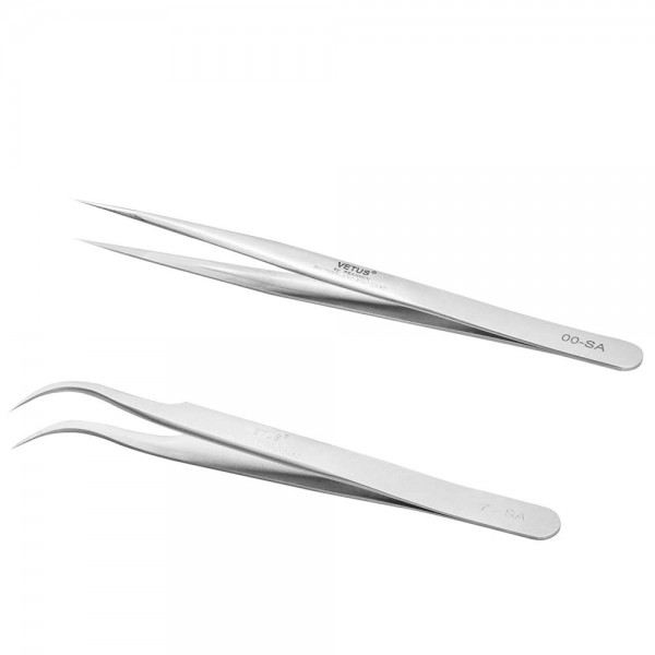 2 Pieces VETUS Straight Pointer and J Curved Pointed Tip Tweezers for Eyelash Extensions Professional Tools Set for Isolation False Classic Individual Lash