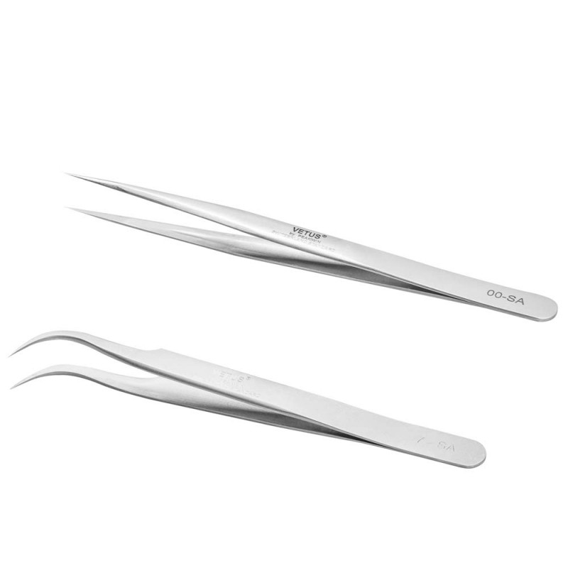Wholesale 2 Pieces VETUS Straight Pointer and J Curved Pointed Tip Tweezers