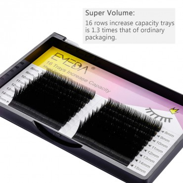 16 Rows D Curl 0.05mm 8-15mm Mix Individual Eyelash Extension