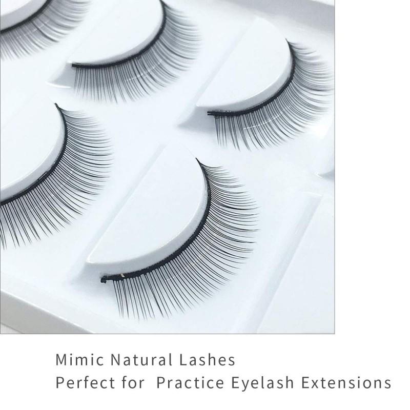 25 Pairs Practice Lashes for Eyelash Extensions Supplies Training Eye Lash Strips Self Adhesive Mimic Natural Eyelash in 5 Bulks by EMEDA