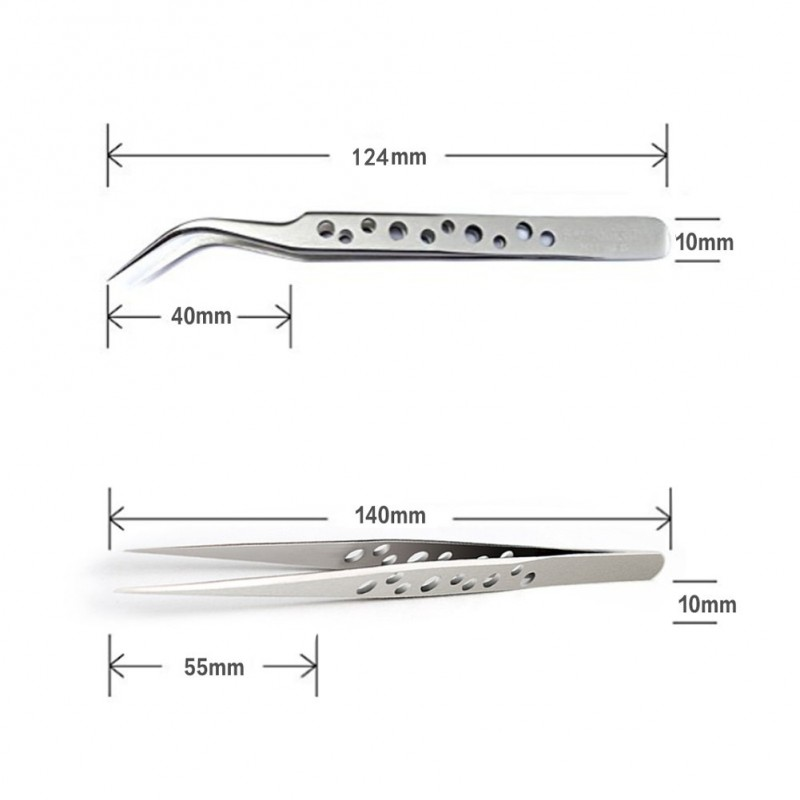 Individual Eyelash Extension Tweezers  9 Holes Professional Stainless Steel Precision Tweezers Set - Straight and Curved Pointed Tweezers for Eyelash Extension