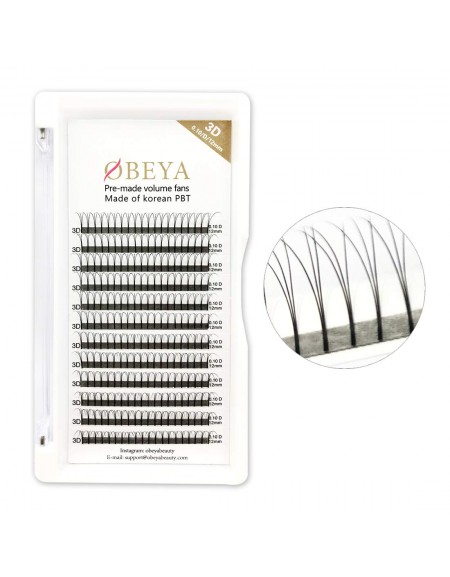 C D Curl 0.10mm Thickness 3D Long Stem Premade Eyelash Extensions 9-16mm mix length and 12mm-15mm single length
