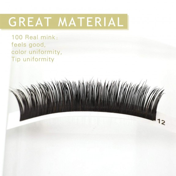 C D Curl  8-14mm Mix Length and 12mm 13mm 14mm Single Length 100% Real Mink Individual Lashes