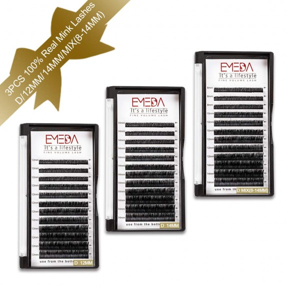3 Packs C D Curl 12mm 14mm Single Length and 8-14mm Mix Length Real Mink Eyelash Extensions