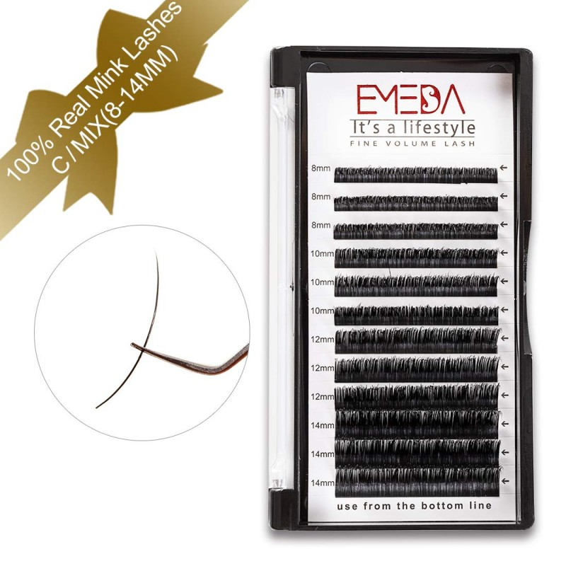 100% Real Mink Lash Extensions C D Curl 8-14mm Mixed Tray and 10mm 11mm 12mm 13mm 14mm 15mm Single Length by EMEDA