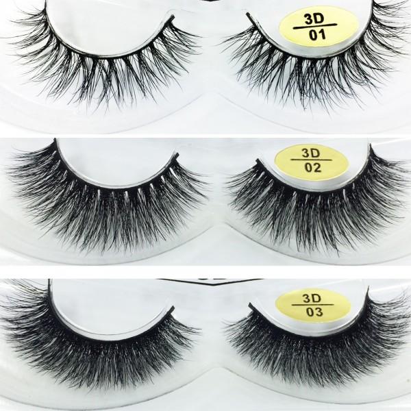 Free Shipping 3 Pairs Natural Looking 3D Mink Fur Fake Eyelashes 3D01-3D03