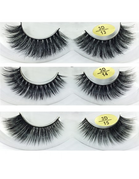 Free Shipping 3 Pairs Natural Looking 3D Mink Fur Fake Eyelashes 3D13-3D15