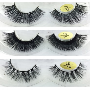 Free Shipping 3 Pairs Natural Looking 3D Mink Fur Fake Eyelashes 3D16-3D18
