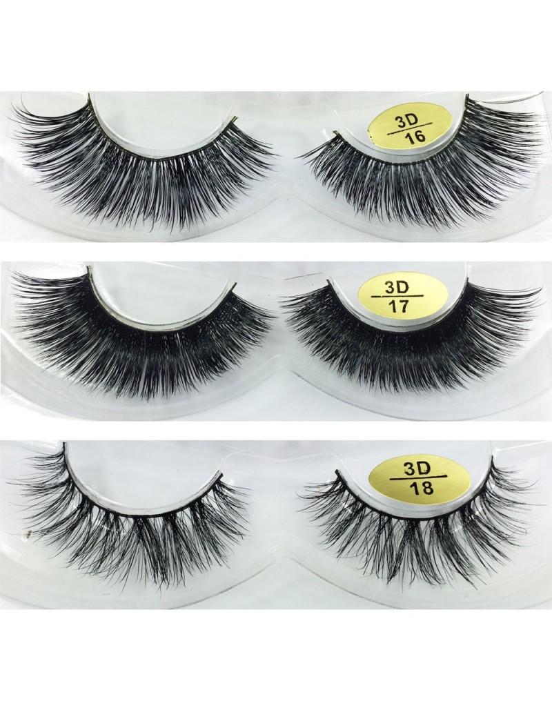 Free Shipping 3 Pairs Natural Looking 3D Mink Fur Fake Eyelashes 3D16-3D18