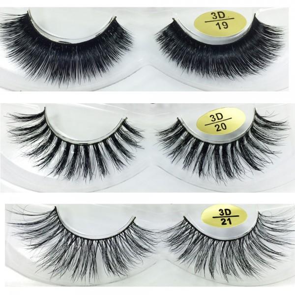 wholesale 3 Pairs Natural Looking 3D Mink Fur Fake Eyelashes manufacturer 3D19-3D21