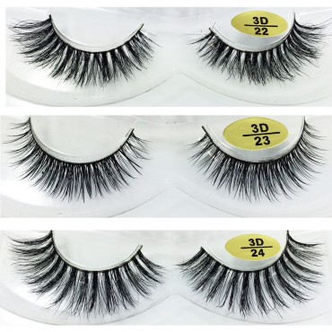 3 Pairs Natural Looking 3D Mink Fur Fake Eyelashes 3D22-3D24