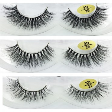 wholesale 3 Pairs Natural Looking 3D Mink Fur Fake Eyelashes 3D25-3D27
