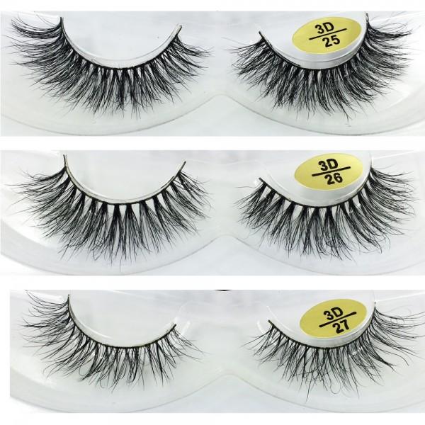 wholesale 3 Pairs Natural Looking 3D Mink Fur Fake Eyelashes 3D25-3D27