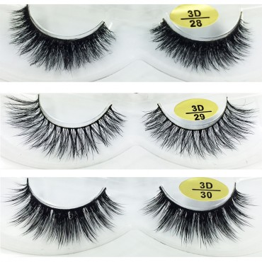 Bulk 3 Pairs Natural Looking 3D Mink Fur Fake Eyelashes 3D28-3D030