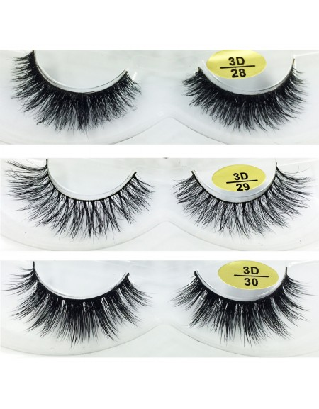 Free Shipping 3 Pairs Natural Looking 3D Mink Fur Fake Eyelashes 3D28-3D030