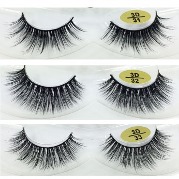 Bulk 3 Pairs Natural Looking 3D Mink Fur Fake Eyelashes 3D31-3D33