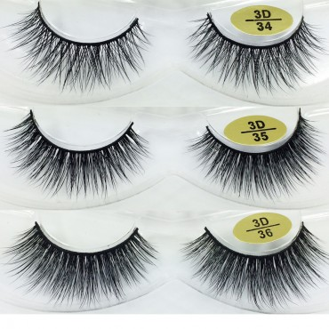 Factory wholesale 3 Pairs Natural Looking 3D Mink Fur Fake Eyelashes 3D34-3D36