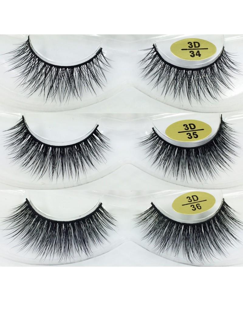 Free Shipping 3 Pairs Natural Looking 3D Mink Fur Fake Eyelashes 3D34-3D36