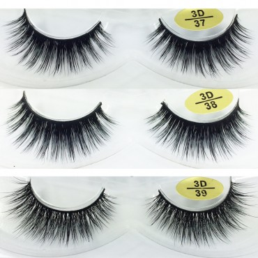 3 Pairs Natural Looking 3D Mink Fur Fake Eyelashes 3D37-3D39