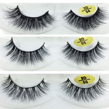 Free Shipping 3 Pairs Natural Looking 3D Mink Fur Fake Eyelashes 3D04-3D06