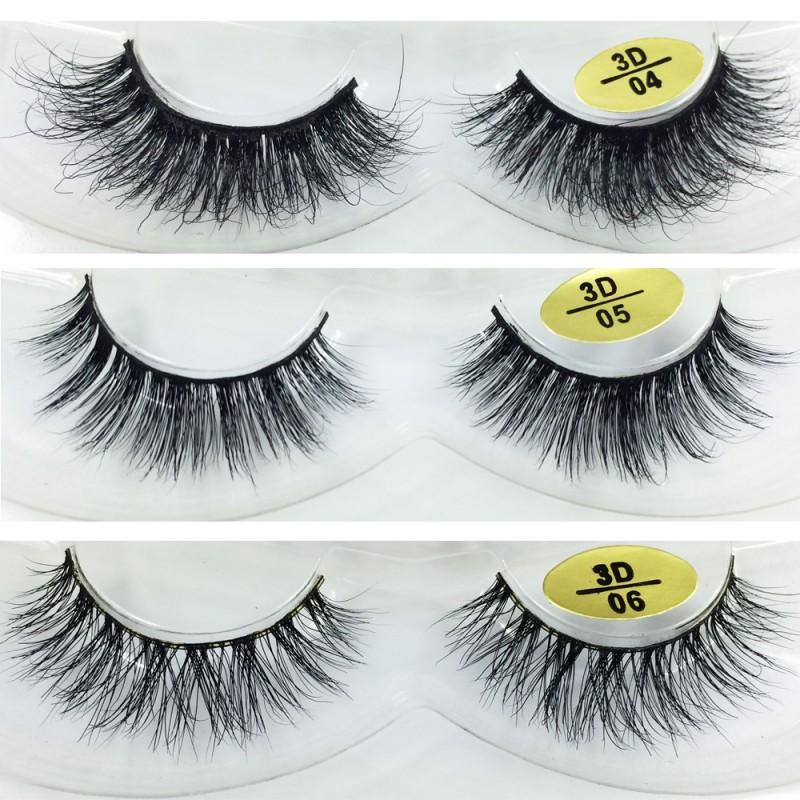 Free Shipping 3 Pairs Natural Looking 3D Mink Fur Fake Eyelashes 3D04-3D06