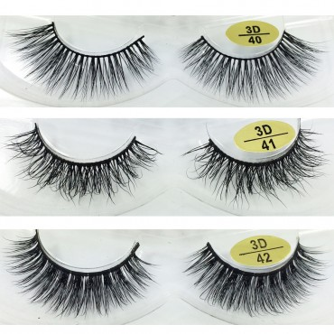 Wholesale 3 Pairs Natural Looking 3D Mink Fur Fake Eyelashes 3D40-3D42