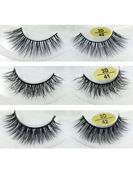 Free Shipping 3 Pairs Natural Looking 3D Mink Fur Fake Eyelashes 3D40-3D42