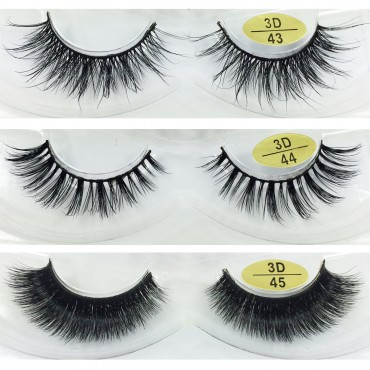 Wholesale 3 Pairs Natural Looking 3D Mink Fur Fake Eyelashes 3D43-3D45