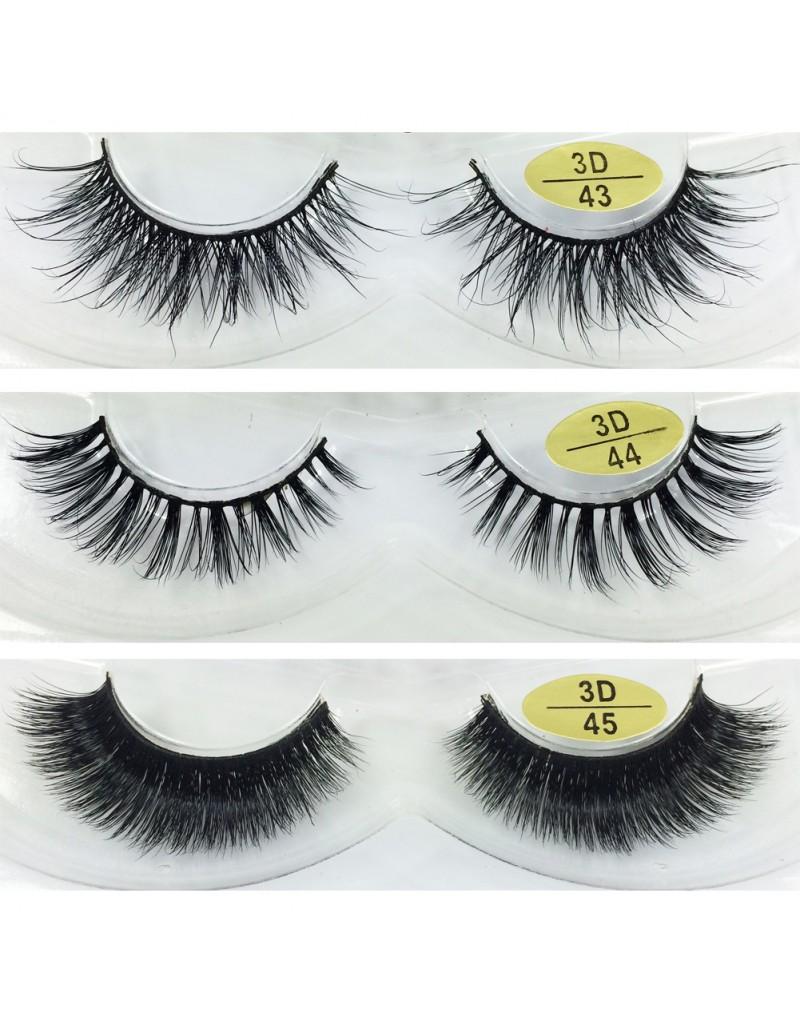 Free Shipping 3 Pairs Natural Looking 3D Mink Fur Fake Eyelashes 3D43-3D45