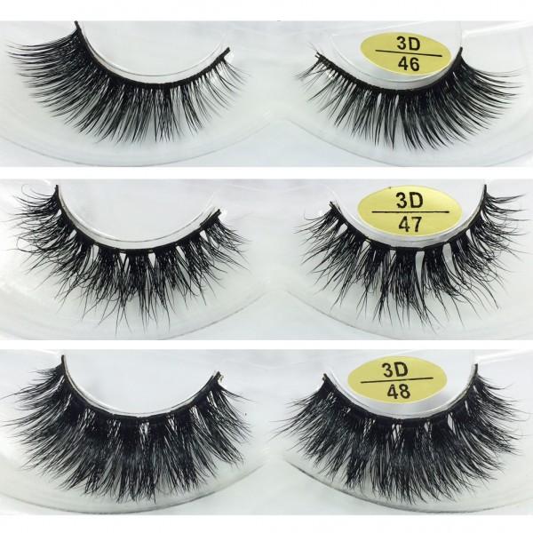 Wholesale 3 Pairs Natural Looking 3D Mink Fur Fake Eyelashes 3D46-3D48