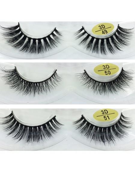 Free Shipping 3 Pairs Natural Looking 3D Mink Fur Fake Eyelashes 3D49-3D51