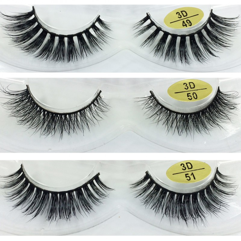 Wholesale 3 Pairs Natural Looking 3D Mink Fur Fake Eyelashes 3D49-3D51