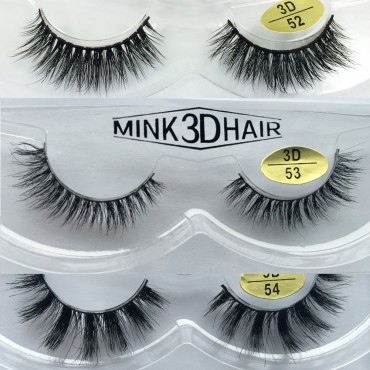 3D mink lashes 100% handmade 3 Pairs Natural Looking 3D Mink Fur Fake Eyelashes 3D52-3D54