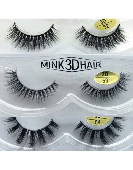 Free Shipping 3 Pairs Natural Looking 3D Mink Fur Fake Eyelashes 3D52-3D54