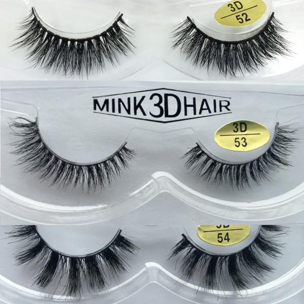 Free Shipping 3 Pairs Natural Looking 3D Mink Fur Fake Eyelashes 3D52-3D54