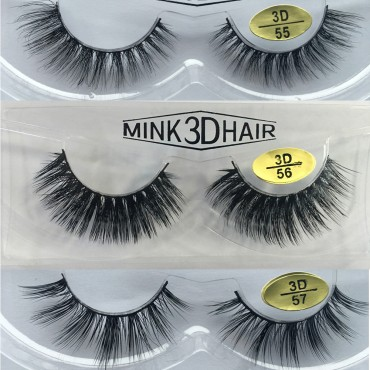 Wholesale 3 Pairs Natural Looking 3D Mink Fur Fake Eyelashes 3D55-3D57