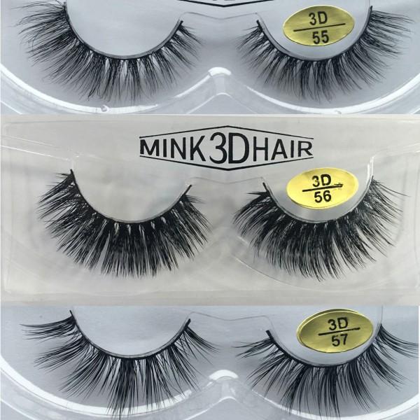 Wholesale 3 Pairs Natural Looking 3D Mink Fur Fake Eyelashes 3D55-3D57